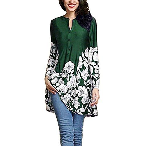 トップス 女性、三番目の店 女 プラスサイズ 花柄プリント Vネック ファッション ロングスリーブ ボタン ロングシャツ