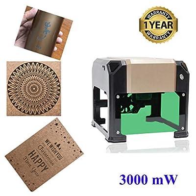 Laser Engraver Machine, Laser Engraving Machine 3000mW Mini Desktop Laser Engraver Machine DIY Logo Laser Engraver Printer 76x76mm