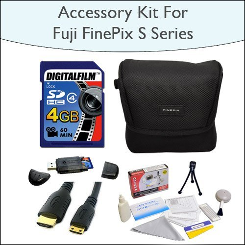4GB Accessory Package Including 4GB SDHC High Speed Memory Card with Card Reader, Case for Fuji FinePix S Series, Mini HDMI Cable and Opteka 5 Piece Lens Cleaning Kit for Fuji FinePix s2800, s2950, s3200, s4000 and HS20EXR Digital Cameras