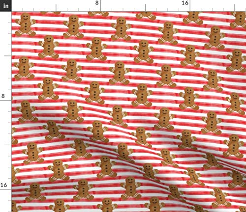 Gingerbread Stripes - Gingerbread Stripes Fabric - Man On Red Holiday Watercolor Littlearrow Joy Winter Striped Christmas Cookie Print on Fabric by The Yard - Sport Lycra for Swimwear Performance Leggings Apparel Fashion