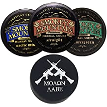 Smokey Mountain Herbal Snuff/Chew Straight, Arctic Mint, and Wintergreen - 3ct - Includes DC Skin Can Cover (Molon Labe Skin)