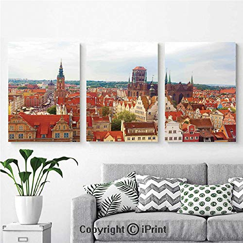 Modern Salon Theme Mural Cityscape of Nostalgic Town Old Polish City with Castle and Tower Europe Culture Painting Canvas Wall Art for Home Decor 24x36inches 3pcs/Set, Multi ()