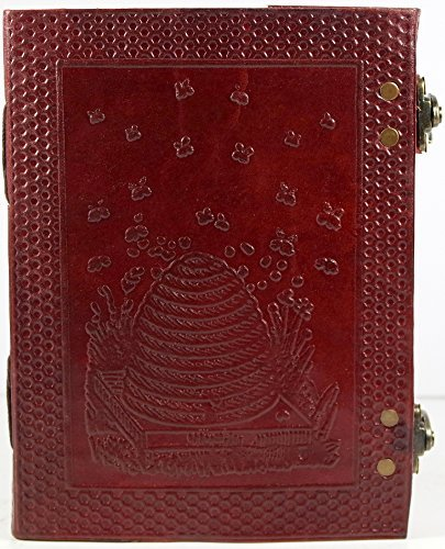 Handmade Honey Bee Beehive Leather Journal with Honeycomb Back 8x6