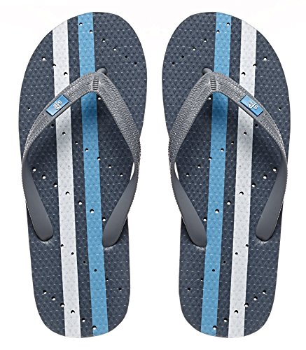 Showaflops Mens' Antimicrobial Shower & Water Sandals for Pool, Beach, Dorm and Gym - Grey/Turquoise 11/12