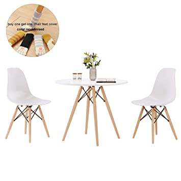 Admirable Round Dining Table And Chair Set 2 Eiffel Retro Style Small Round Table Chair With Wood Leg For Dining Room Modern Kitchen Furniture White Dailytribune Chair Design For Home Dailytribuneorg