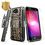 phone cases for a lg slide phone - LG Fiesta LTE / Fiesta 2 / LG X Charge / LG X Power 2 Case w/ [Tempered Glass Screen Protector], NageBee [Heavy Duty] Armor Shock Proof [Belt Clip] Holster with [Kickstand] Combo Rugged Case -Camo