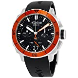 Alpina Seastrong Diver 300 Big Date Chronograph Black Dial Black Leather Mens Watch AL-372LBO4V6