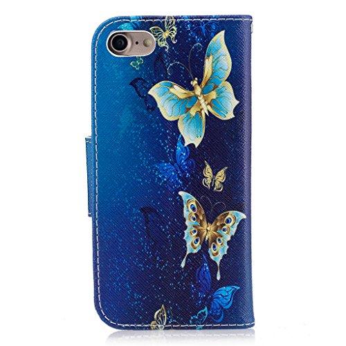 Crisant blauer Schmetterling Drucken Design schutzhülle für Apple iPhone 7 4.7'' (4,7''),PU Leder Wallet Handytasche Flip Case Cover Etui Schutz Tasche mit Integrierten Card Kartensteckplätzen und Stä