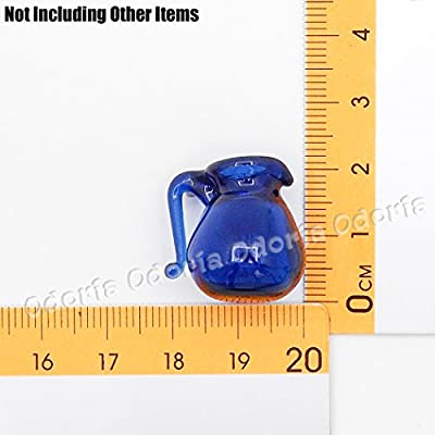 Odoria 1:12 Miniature Blue Glass Vase Water Pitcher Dollhouse Decoration Accessories: Toys & Games