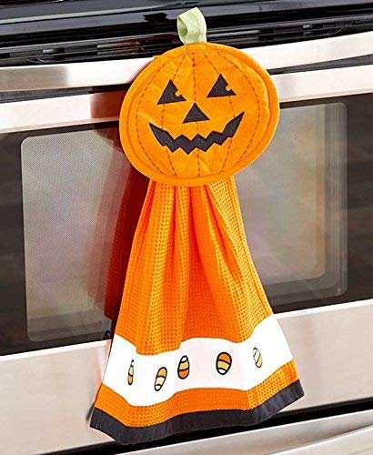 Pumpkin Halloween 2-Piece Towel And Pot Holder Set made our list of fun Halloween camping ideas for RV decorations, activities and campsite decorating ideas plus kids and pets will love these camping Halloween costumes and everybody will enjoy these Halloween camping food ideas!