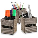 MyGift Set of 3 Crate Design Pen & Pencil Holders, Wood Office Desk Storage Boxes