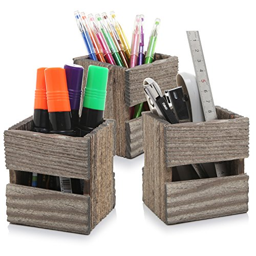 Exceptionnel MyGift Set Of 3 Crate Design Pen U0026 Pencil Holders, Wood Office Desk Storage  Boxes