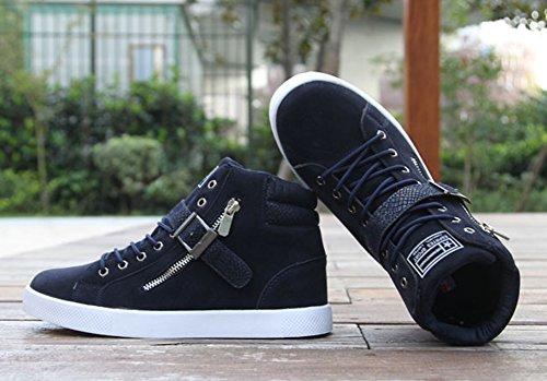 Bleu Confort Fermeture Eclair Basket Homme Suede 47 Lacets Taille Chaussure Montantes 46 45 Sneakers Boucle Mode Grand Hautes Casual wealsex HR1nxwx