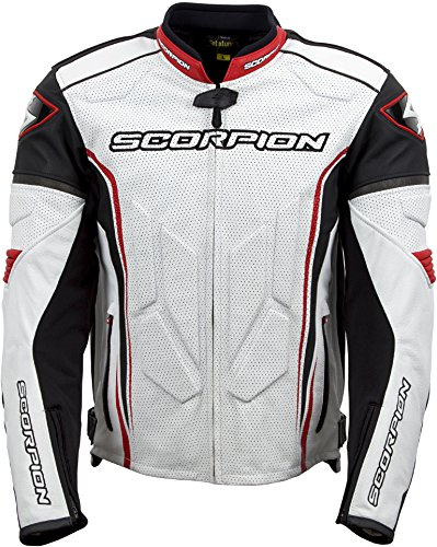 en's Leather Sport Motorcycle Jacket (White/Red, XXX-Large) ()
