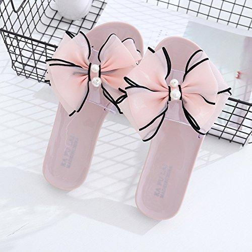VENMO Chanclas de los deslizadores de los flips-flopes de las sandalias del verano de la flor de la manera de las mujeres Rosa