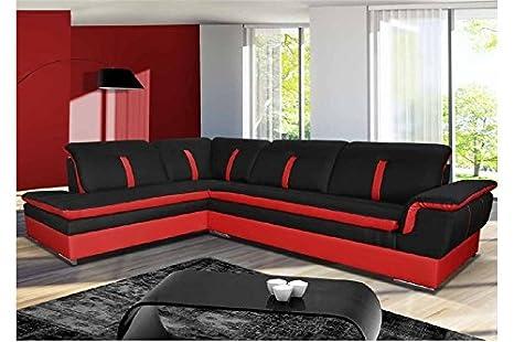 Divano Rosso E Nero : Chloé divano angolare marion tessuto nero e rosso angolo