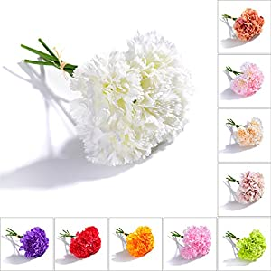 TiTa-Dong Artificial Flowers Fake Silk Carnations, 1 Bunch 5 Stems Bridal Bouquet Plastic Flower Arrangement for Mother's Day Birthday Weddings Anniversary Party Home Garden Decor(White) 44