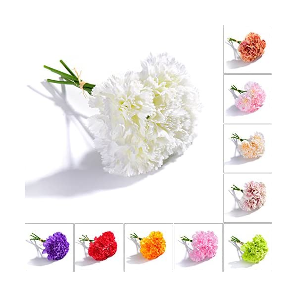 TiTa-Dong-Artificial-Flowers-Fake-Silk-Carnations-1-Bunch-5-Stems-Bridal-Bouquet-Plastic-Flower-Arrangement-for-Mothers-Day-Birthday-Weddings-Anniversary-Party-Home-Garden-DecorWhite