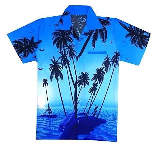 Virgin Crafts Hawaiian Shirt for Mens Short Sleeve Big Palm Print Casual Fashion Beach Shirt