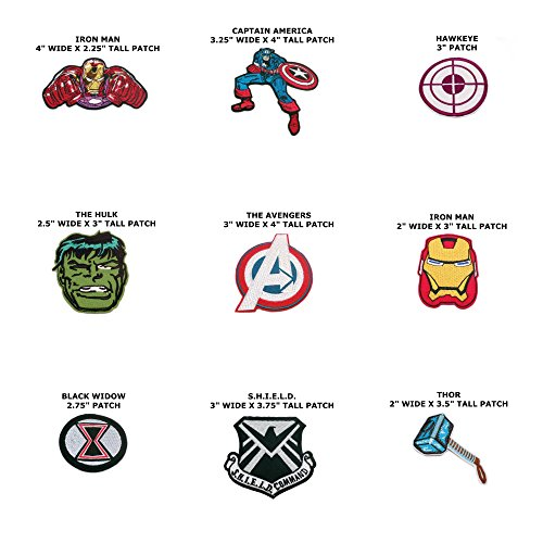 [Super Hero Marvel Comics The Avengers Assorted 9-Pack Iron or Sew-on Patch] (Marvel Colossus Costumes)