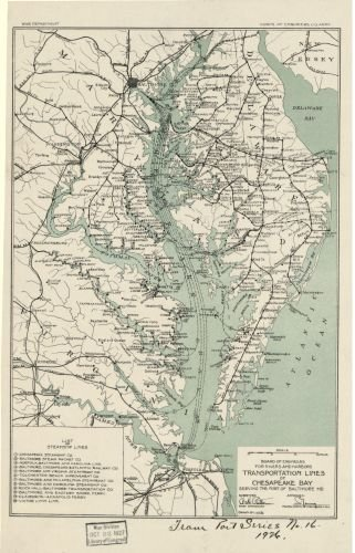 Baltimore Md Map (1926 Map Transportation lines of Chesapeake Bay serving the port of Baltimore MD - Size: 16x24 - Rea)