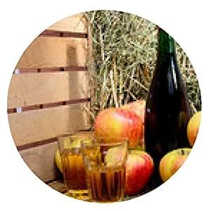 alfombrilla de ratón botella de sidra con manzanas y paja - ronda - 20cm