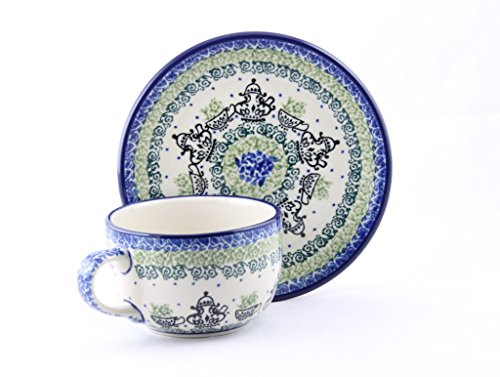 Ceramika Artystyczna Polish Pottery Ceramic Tea Cup and Saucer Hand Painted Hand Made
