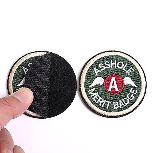 Asshole Merit Badge WZT Morale Patch, Funny Tactical Military Morale Patch Hook & Loop, Dark Green