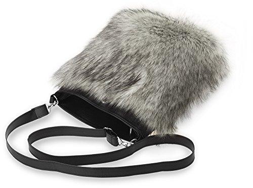 Damentasche mit Fell originelle Messengertasche schwarz - grau