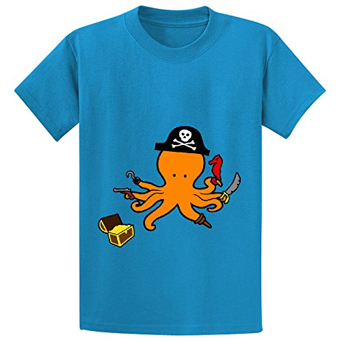 octopus pirate cute Teen Crew Neck Cotton T-shirt Blue
