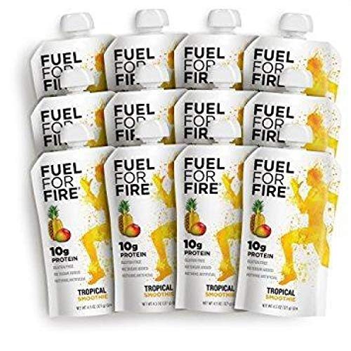 - Fuel For Fire - Tropical (12 Pack) Fruit & Protein Smoothie Squeeze Pouch | Perfect for Workouts, Kids, Snacking - Gluten-Free, Soy-Free, Kosher, No Added Sugar (4.5 ounce pouches)