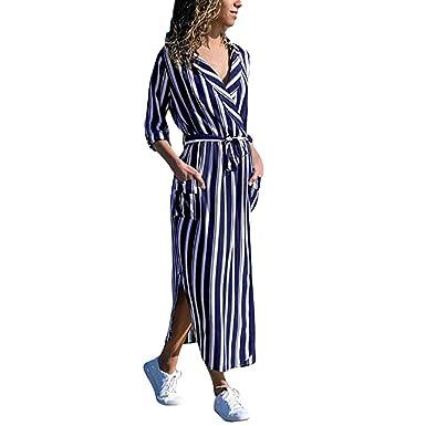d63cde5618b Women Long Dress DEATU Clearance Ladies Stripe Print Long Sleeve Pocket Casual  Dresses Split Shirt