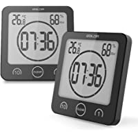 BALDR Waterproof Timer Shower Clock Bathroom Clock Wall Mounted, Displays Time, Temperature, and Indoor Relative Humidity (2 Packs, Black)