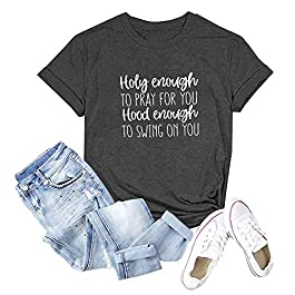 Binshre Women Holy Enough to Pray for You T-Shirt Inspritional Letter Print Tees Casual Short Sleeve Round Neck Tops