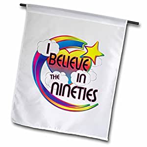 White I Believe In The Nineties Cute Believer Design Garden Flag Double Sides Polyester Decorative Flag for Home Yard Decorations 12 x 18 inch