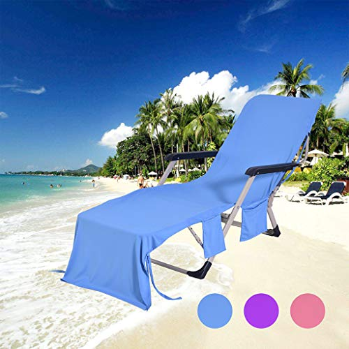 Room Dining Outdoor Chaise (Beach Chair Cover by Pulison Chaise Lounge Towel Cover for Pool, Sun Lounger, Hotel, Vacation with Storage Pockets, Blue 82.5''x29.5'' (Blue))