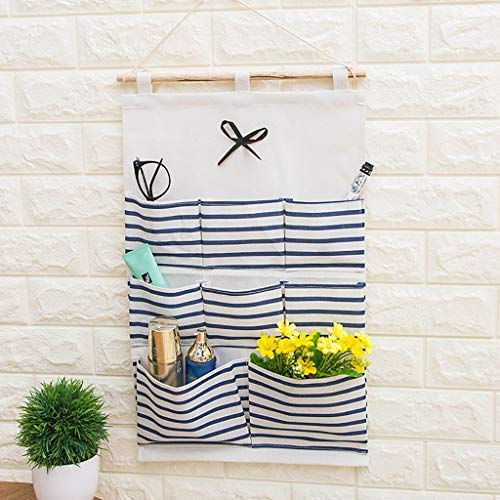 Athli Simple Houseware 8 Pocket Over The Door Wall Mount Hanging Organizer Storage Hanging Bag Wall (Laundry Hide Holder)