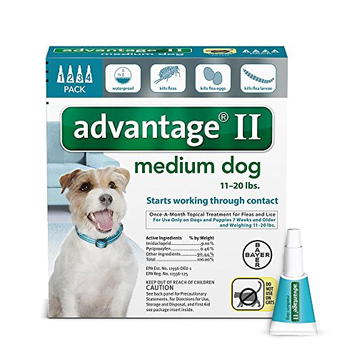 Dog Flea And Tick Control (Bayer Advantage II Flea and Lice Treatment for Medium Dogs, 11 - 20 lb, 4 doses)