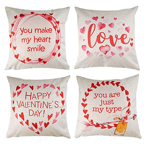 Valentines Day Throw Pillow Cover 18 x 18 Inches Set of 4 - Valentines Day Series Cushion Cover Case Pillow Custom Zippered Square Pillowcase