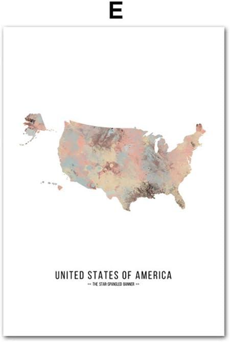 zxkx Francia España Rusia Australia Mapa del Mundo Carteles y Estampas Nórdicos Arte de la Pared Pintura en Lienzo de la Pared Cuadros para la Sala de Estar 50x70cm: Amazon.es: Hogar