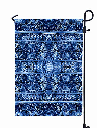 Shorping Spring Garden Flag, 12x18Inch Striped Painted Pattern with Ethnic and Tribal Motifs Zigzag Lines for Holiday and Seasonal Double-Sided Printing Yards -