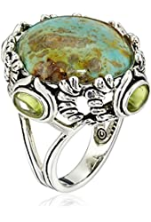 Barse Sterling Silver and Patagoniac Turquoise Peridot Ring