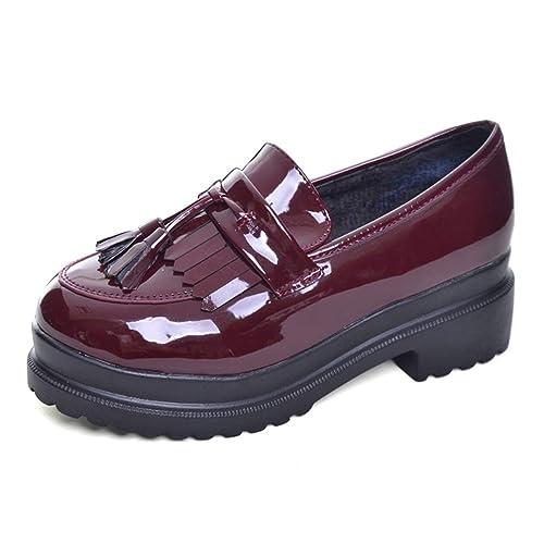 Zapato Informal De Plataforma De Las Mujeres De Oxfords Zapatos De Cuero De Patente De La