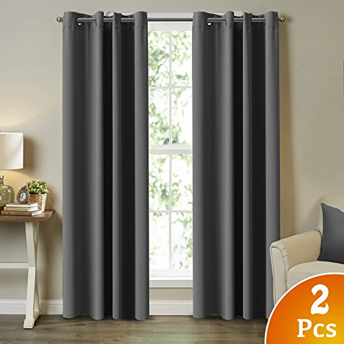 Ultra Blackout Solid Thermal Insulated Grommet Curtains / Drapes for Bedroom / Living Room (2 Panels, 52 Inch Wide by 84 Inch Long, Charcoal Gray)