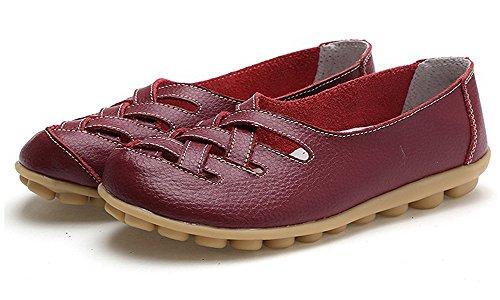 Casual Ville Femme Loafers Rouge Bateau De Flats Mocassins Penny Cuir Chaussures Vin Plates Conduite Loisir nYwppTZCq