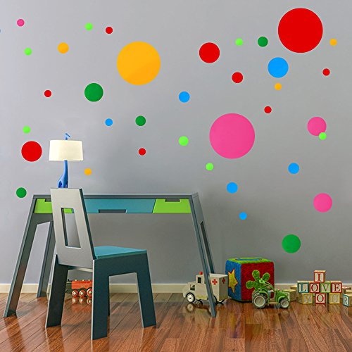 School Play Sticker (Polka Dots Wall Decals 91 pcs Cute - Colorful Round Stickers for Toddlers & Kids Bedroom,Playhouse,Nursery Decorations)