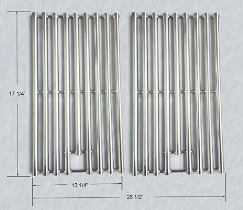 GS6342 NEW design Stainless Steel Cooking Grid Replacement for Select Gas Grill Models by Kenmore, Nexgrill and Others, Set of 2 (Porcelain Vs Stainless Steel Grill)