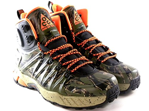 Men's Nike ACG Zoom Meriwether Posite Trail Boots. Size 7.5. BLACK/TOTAL ORANGE-BOMB-LAGOON GREEN