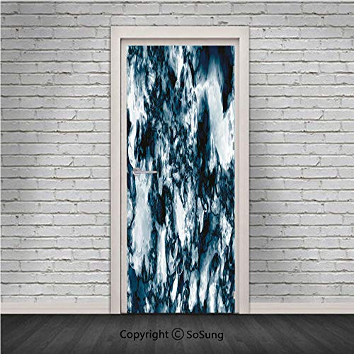 Marble Door Wall Mural Wallpaper Stickers,Unusual Gemstone Onyx Rock Nature Pattern with Vintage Paintbrush Effects Decorative,Vinyl Removable 3D Decals 30.4x78.7/2 Pieces set,for Home Decor Slate Blu