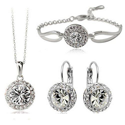 MAFMO White Platinum Plated Crystal Round Shaped Necklace Bracelet Earrings Set Women Fashion Jewelry (Earrings And Bracelet Set)